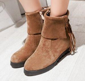 Women new fashion spring autumn tassel boots hidden heels scrub round toe short shoes large plus size 40-43