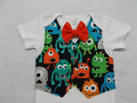 This item will be ready to ship in 8 to 12 days Our Little Monster is turning ONE! Monster tuxedo bodysuit, prefect for birthday party, birthday invitation, gift giving, photo shoot. VEST: is attached to the bodysuit BOW TIE: is removable Style: Short or long sleeve Custom orders are welcome ALL BODYSUITS are Carters brand: Just one you, Child of mine or Carters APPLIQUE OPTION: 1st birthday 2nd birthday Write your option in the box Note to seller at check out Size: Newborn up to 8 l...