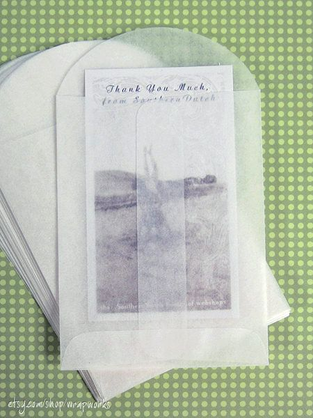 100 Small Glassine Envelopes  2.75 x 3.75 - Business Card Size, Confetti Envelopes. $12.00, via Etsy.