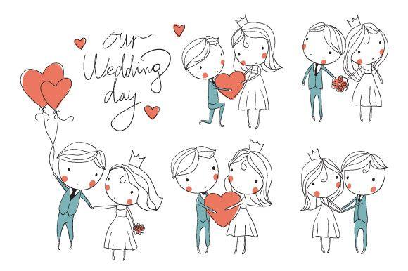 Wedding card. Bride and groom by NatalyS on Creative Market