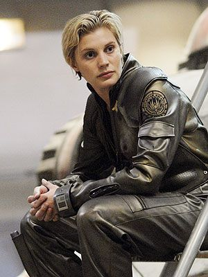 Katee Sackhoff, from Battlestar Galactica? I think she has done an amazing job at portraying cocky pilot Starbuck on the series. She steals every single scene she's in. Her character is so multilayered, so damaged....I love the fact that even though her character does some pretty awful things sometimes, we can never truly hate her. This character wouldn't be half as good and believable if Katee Sackhoff weren't the one portraying it.