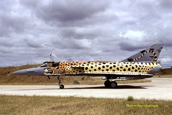 """Denel Cheetah - South African Air Force Museum. Atlas (later Denel) Cheetah built as upgrade of the Dassault Mirage III,& served the SAAF between 1986-2008.Were 3 variants - dual seat Cheetah D, & single seat E & Cs.Replaced by SAAB Gripens.No342, known as """"Spotty"""" in Cheetah scheme at Louis Trichart,1999."""