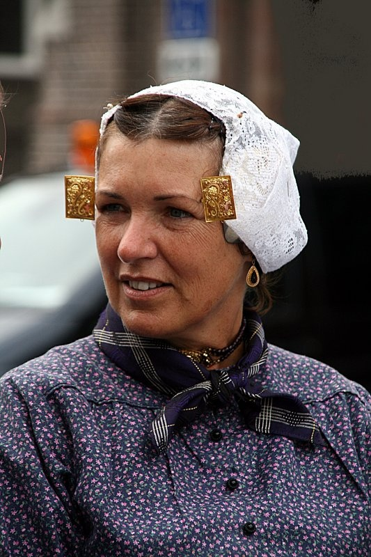 Europe | Portrait of a woman wearing a traditional headdress, Katwijk, Zuid-Holland, The Netherlands #lace
