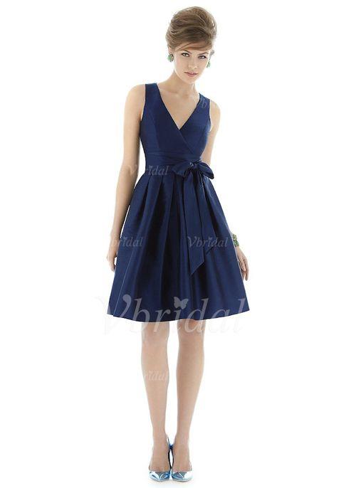 Robes de demoiselle d'honneur - $108.00 - Forme Princesse Col V Au niveau du genou Satin Robe de demoiselle d'honneur avec À ruban(s) (0075100936)