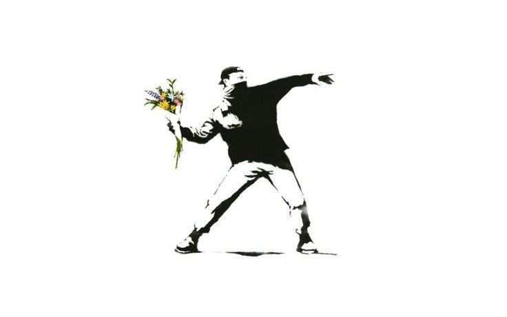 Banksy graffiti, flowers