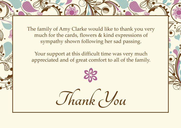 thank you card email template  funeral thank you cards