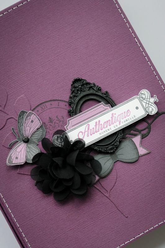 Bonjour ! Voici mon mini album «Moment Authentique»! Des Bazzills «Velvet, Raven, Heidi, White et Flintstone» et pleins de tampons Florilèges Design …