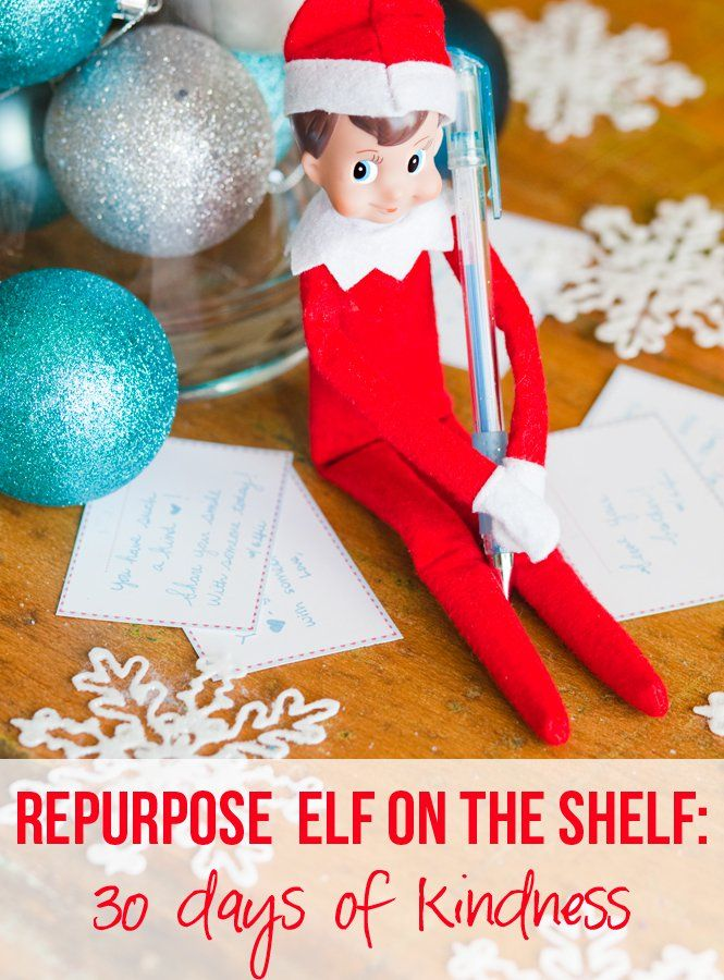 Turn Elf on the Shelf in to 30 days of kindness. Such a fun and unique way to teach children how to be kind and provide service during the Christmas season. Check out our blog post for details. Free Printables included!