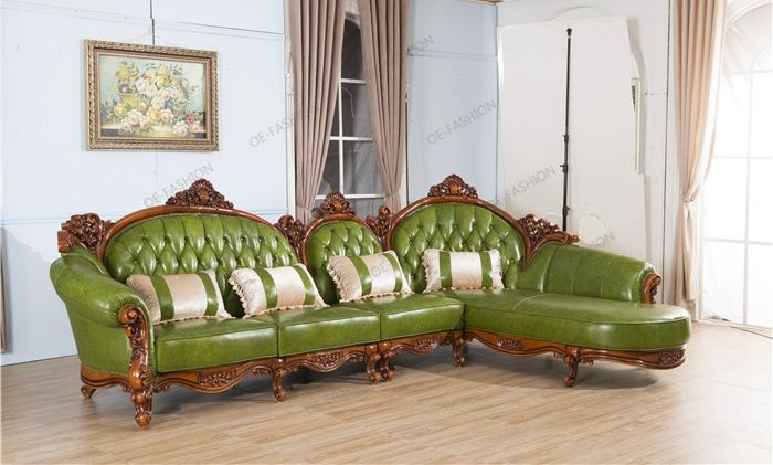 Solid Wood Carving Corner Living Room Green Leather Sofa View Corner Leather Sofa Oe Fashion Product Details From Foshan Oe Fashion Furniture Co Ltd On Ali Living Room Green Green Leather Sofa Furniture