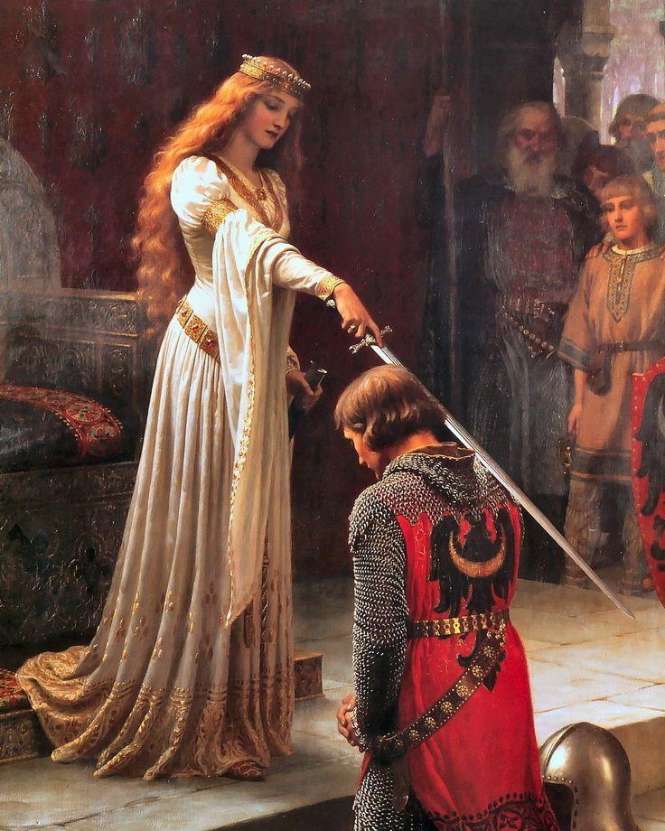 Pre-Raphaelite Art Print Medieval Princess Dub Knight Sword Chivalry Middle Ages