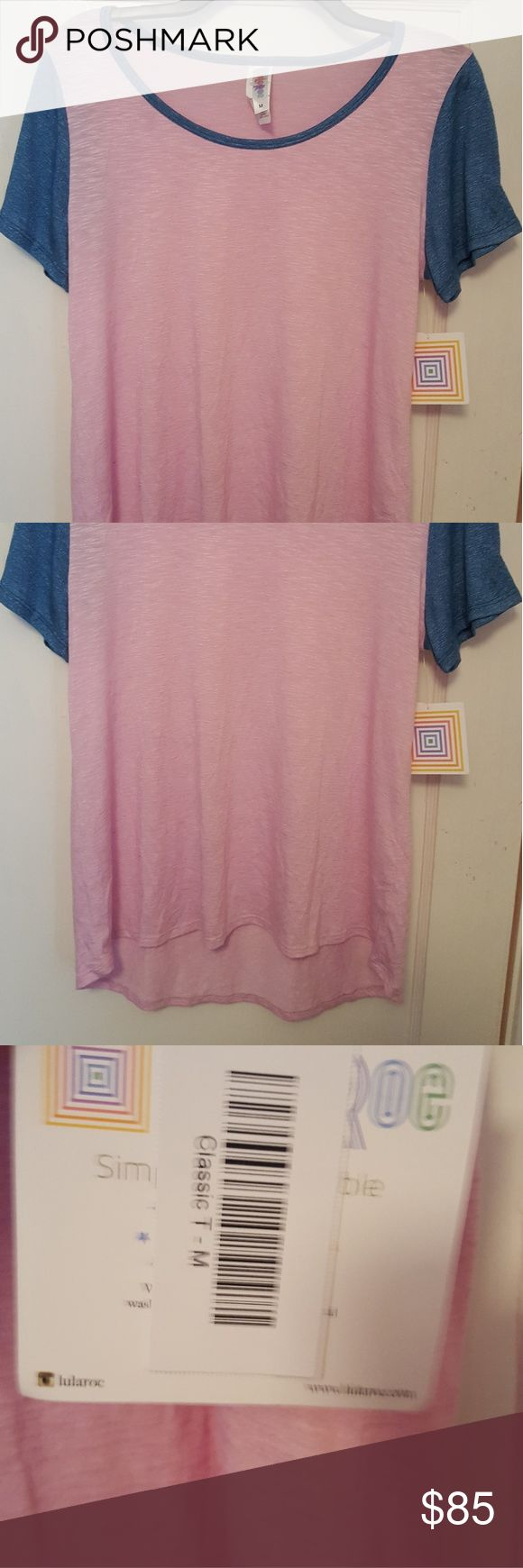 NWT UNICORN LULAROE CLASSIC T top M NWT Lularoe Classic T Top size Medium. Features lightweight fabric, Cotton Candy pink and blue contrast piping/sleeves and incredibly figure flattering cut. Lularoe is known for their highly versatile and insanely silhouette-flattering pieces. Google the multiple ways to style these pieces- they are the PERFECT vacation item when traveling light! Each piece is unique. Any questions please feel free to ask :) I also offer combined shipping discounts on…