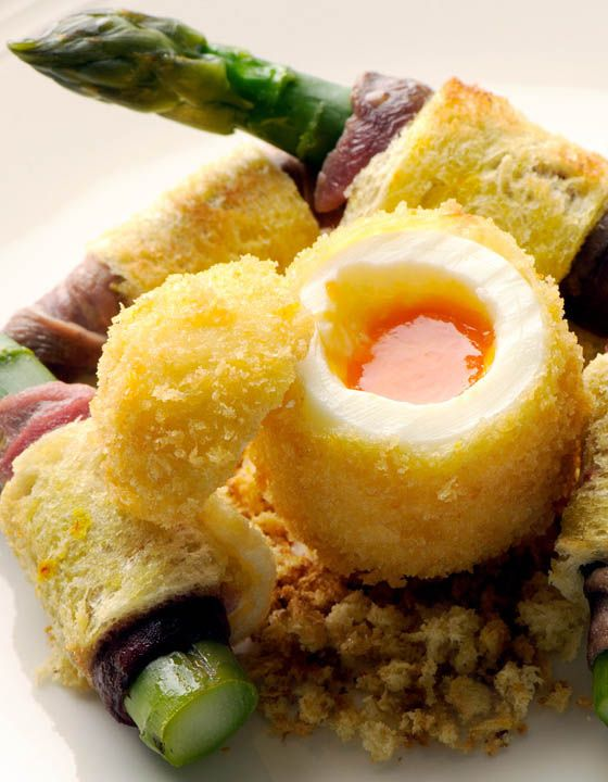 Boiled egg and soldiers - Nathan Outlaw.  Egg and soldiers will never be the same again after you've had this version, which has asparagus which not only adds a nice aesthetic touch but a fabulous flavour.