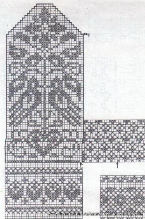Flott fuglemønster til votter e.l.