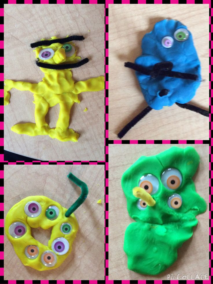 Monsters: play dough, eyes, pipe cleaners