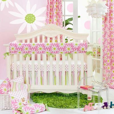 3pc Pink & Green Floral Polka Dot Wavy Striped Patchwork Baby Girl Crib Bedding