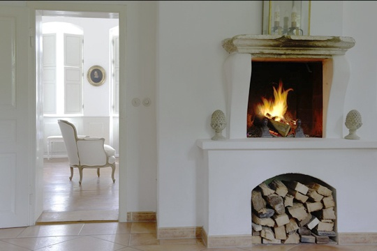 the raised fireplace