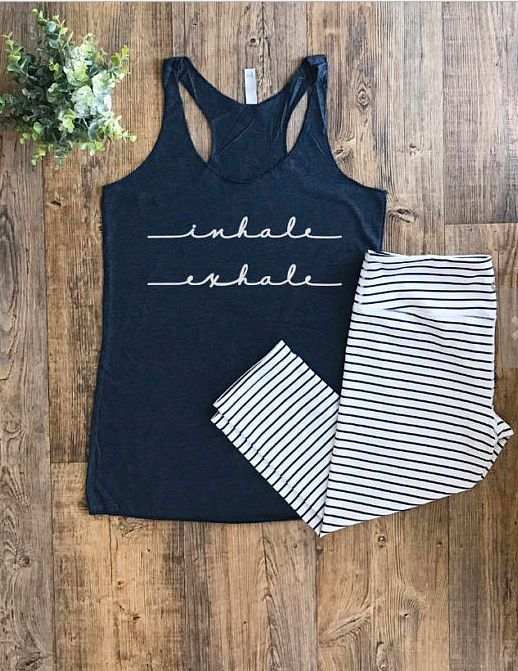 $20 | I love this yoga tank! | Womens Workout Tops | Inhale exhale tank | Workout Clothes | Fitness Clothing | Workout Tank Tops | Ladies Gym Tops | Yoga Tank Top | active wear | yoga clothes | fitness fashion | workout clothes | #ad #workoutoutfits