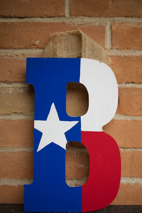 Wooden Texas flag initial by MaresMadeGoods on Etsy
