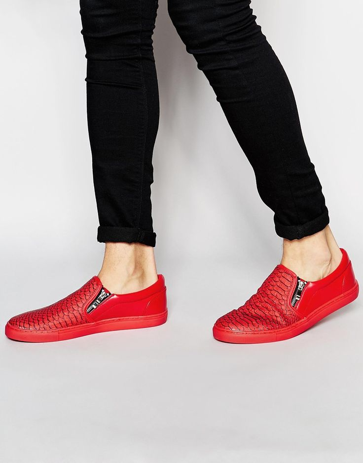 ASOS Slip On Plimsolls in Red Snakeskin Effect With Zips