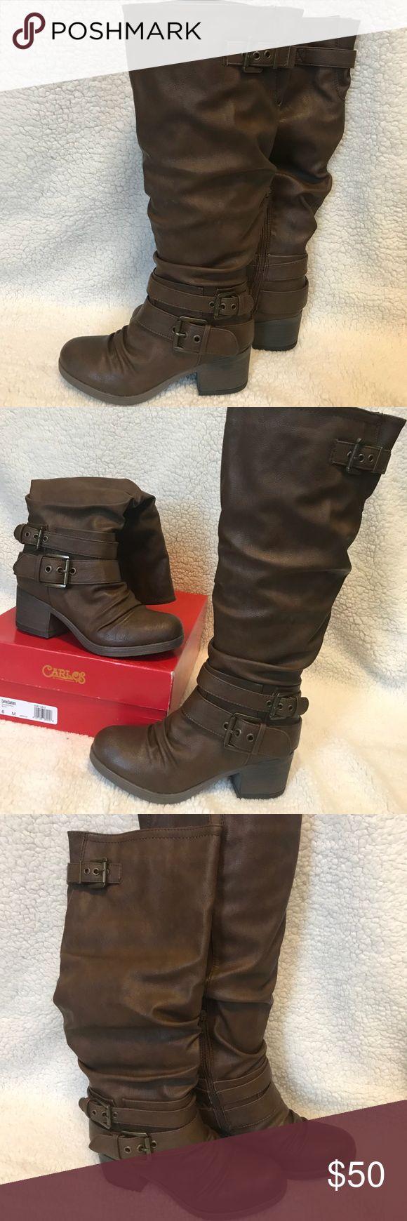 Carlos Santana Boots BNIB brown vegan leather slouchy boots from Carlos Santana.  Three buckle detail. Two inch heel.  Size 6 M Carlos Santana Shoes Heeled Boots