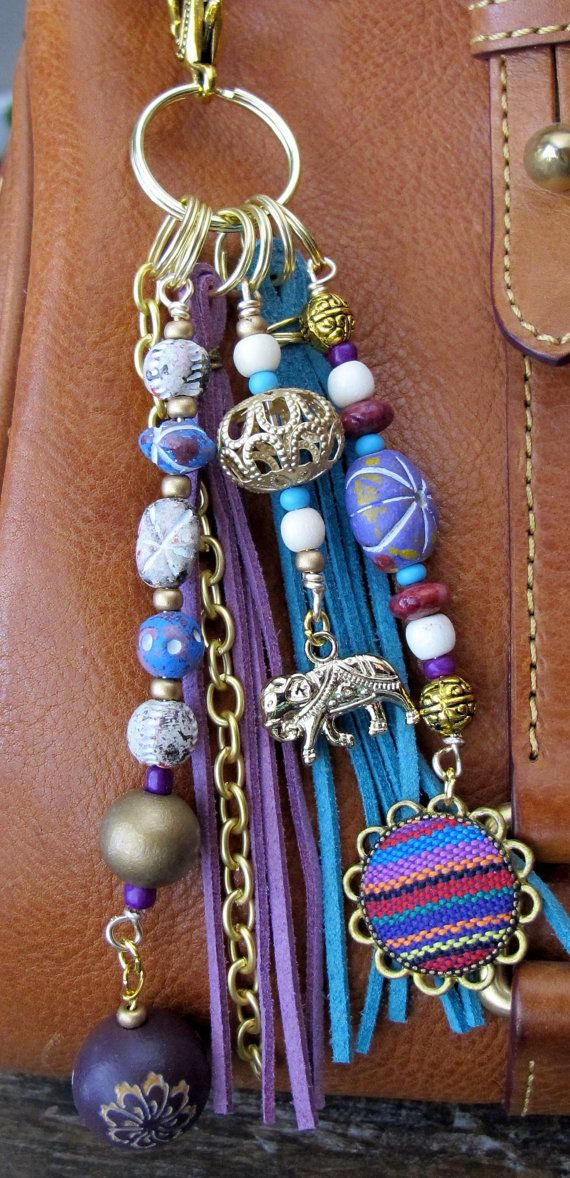 #ThePaintedCabeza ~ This handmade tassel charm can be used on your purse, backpack, zipper, wherever youd like to add some charm! Its made up of a brass chain and