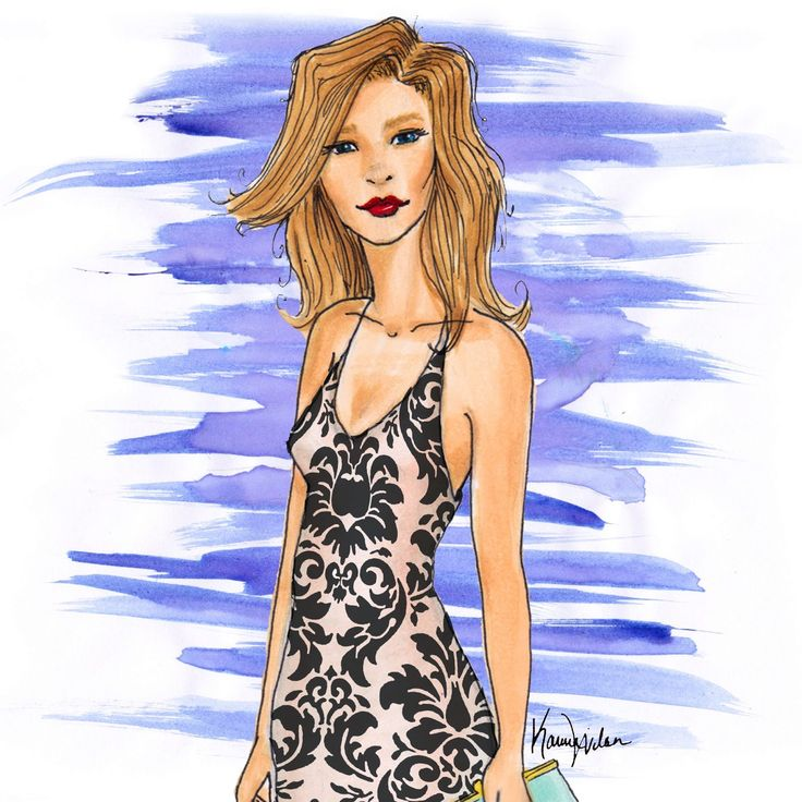Fashion illustration rendered in Copics, watercolors, and adjusted in photoshop by Karina Wilson