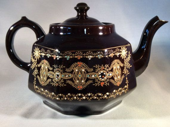 Antique Gibsons Made in England Deep Brown Teapot by CMJsTreasures