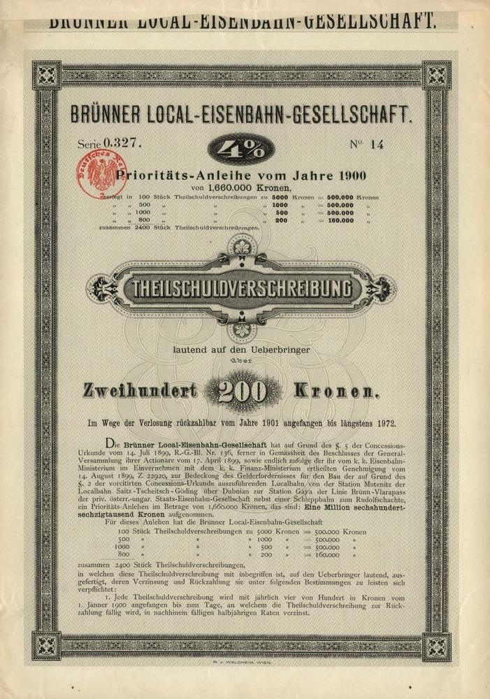 Brünner Local-Eisenbahn-Gesellschaft (Společnost Brněnské místní dráhy). Prioritní dluhopis na 200 Korun. Brno, 1900. Získané finance z dluhopisů byly použity na stavbu dráhy Mutěnice - Kyjov (tzv. Mutěnka). Trať navazovala na dráhu Hodonín - Zaječí a v Kyjově na Vlárskou dráhu (Brno - Veselí nad Moravou - Vlárský průsmyk - Trenčianska Teplá)