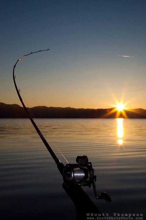 """""""Sunrise Fishing on Lake Tahoe 2"""" - This trolling fishing pole was photographed at sunrise on Lake Tahoe."""