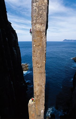 The Totem Pole, Tasmania, Australia. There are people climbing that thing. EEEEEK!!!!