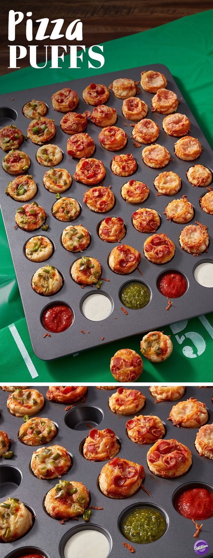 Pizza Puffs Recipe - Learn how to make these delicious pepperoni pizza puffs for a quick and easy addition to your Father's Day celebration. Use the Wilton Mega Mini Muffic Pan to make 48 pizza puffs at once!