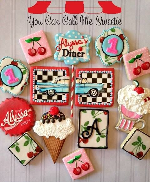 from I Heart Sugar, Sugar. Great idea for a 50's style diner birthday my dad.