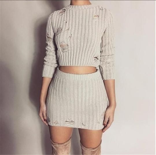 Women Sexy Autumn Knitted Tops and Mini Dress 2 Piece Set Fashion Hollow Out Short Bodycon Skirt and Sweater Two Piece Set 2