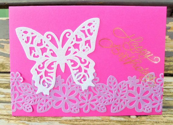 White Butterfly  handmade card birthday card by RogueKissedCraft