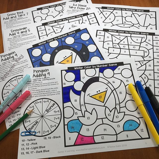 My New Winter Color By Number With Addition And Subtraction Games And Bonus Activity Sheets The Fun Subtraction Games Addition And Subtraction Winter Colors