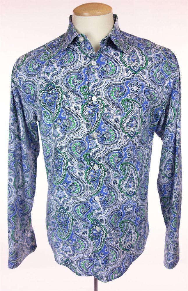 MICHAEL KORS Mens Dress Shirt Size M Multi Color Cotton Tailored Slim Fit Work #MichaelKors