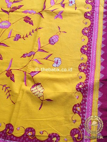 Bahan Kain Batik Tulis Floral Boketan Kuning Pink Jambon | #Indonesia Traditional #Batik Tulis #Design. Hand-dyed and HandDrawn Process http://thebatik.co.id/kain-batik-bahan/batik-tulis/