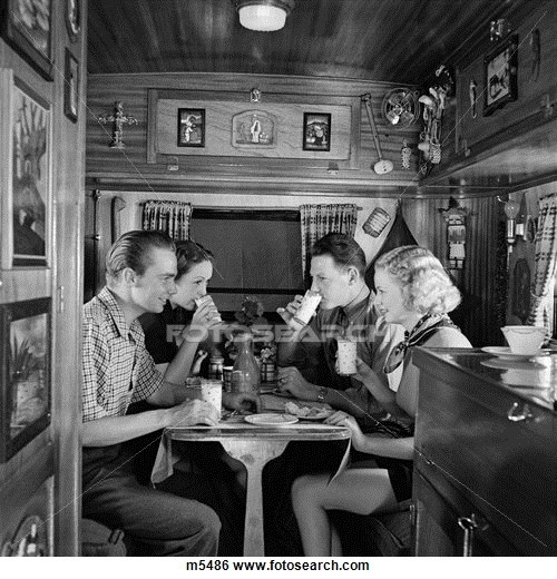 Inside Travel Trailers: 1930s Two Couples Sitting Inside Camping Trailer Eating