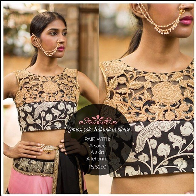 Kalamkari vibes with a heart of gold! A gold zardosi yoke adds that very special touch to a monochrome Kalamkari blouse...Get yourself a similar one in our READY TO SHOP section OR customise your perfect blouse here: www.houseofblouse.com #houseofblousedotcom #Blouse #kalamkari #black #white #cotton #zardosi #yoke #gold #love #readytoshop