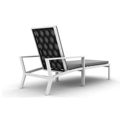 Parkview Reclining Chaise Lounge with Cushion Finish: Textured Black, Wicker Panels: White, Fabric Color: Canvas Mineral Blue - http://delanico.com/chaise-lounges/parkview-reclining-chaise-lounge-with-cushion-finish-textured-black-wicker-panels-white-fabric-color-canvas-mineral-blue-754229835/