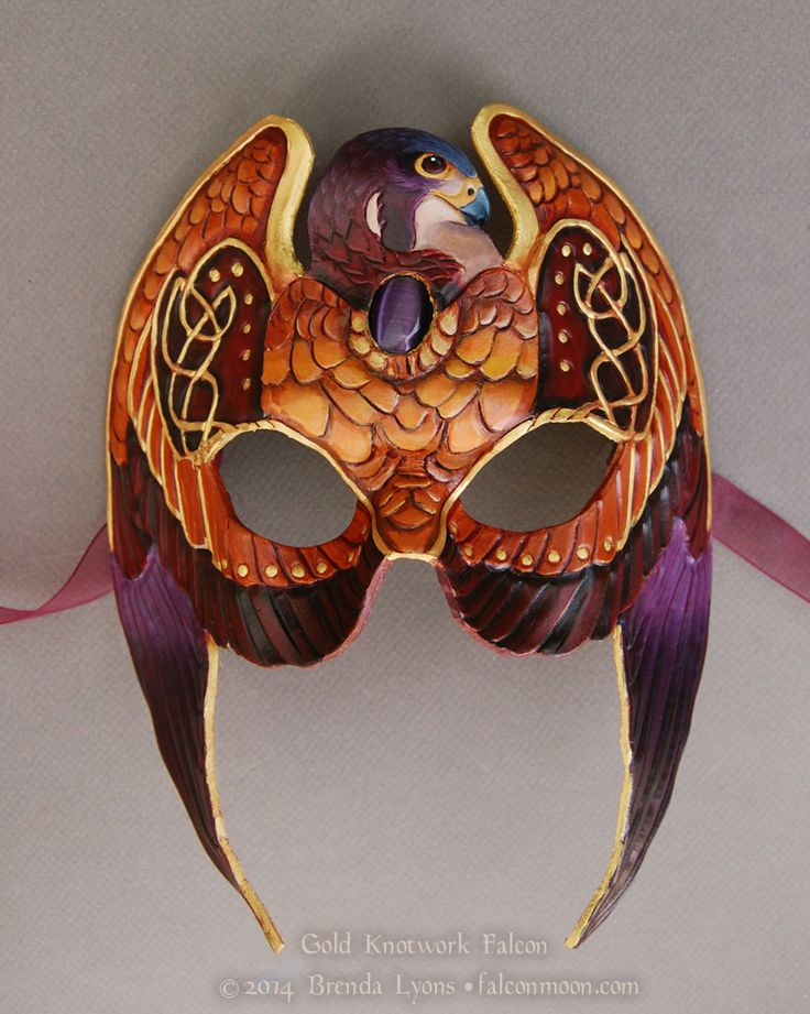 Gold Knotwork Falcon - Leather Mask with Stone by windfalcon.deviantart.com on @deviantART
