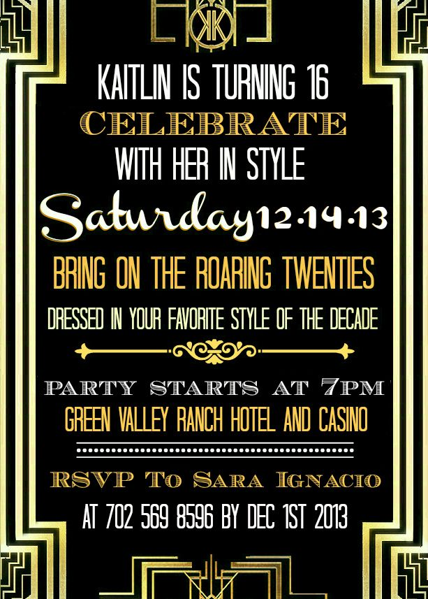 Kaitlin 39 s sweet 16 great gatsby invitation kaitlin 39 s for Avery template 8695