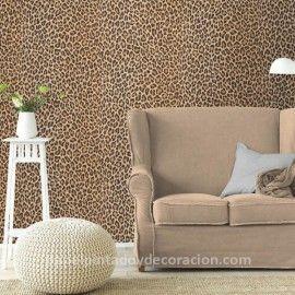 Papel pintado imitación piel leopardo marrón PDW9473612 imágenes