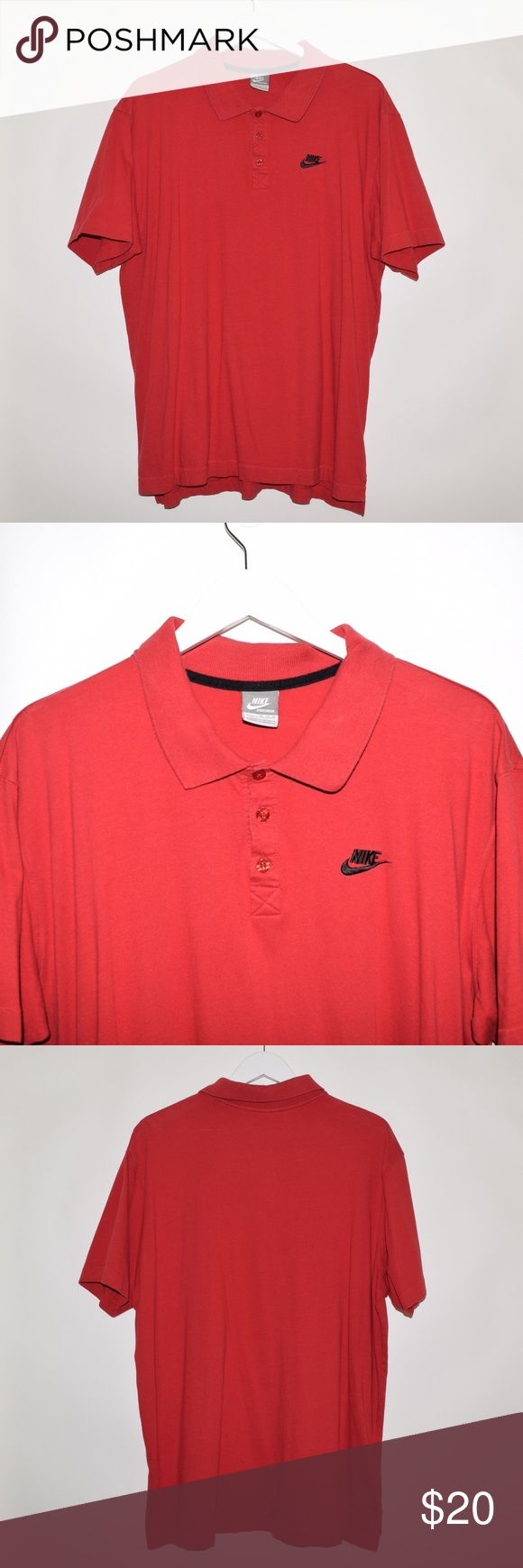 Vintage VTG Nike Sportswear Embroidered Polo Shirt Brand: Nike Sportswear  Item name: Men's Vintage Soft Cotton Polo Shirt  Color: red  Condition: This is a pre-owned item. It is in excellent condition with no stains, rips, holes, etc. Comes from a smoke free household.  Size: Men's XL   Material: 100% Cotton  Measurements:   Pit to Pit - 25 inches  Neckline to bottom - 29 inches Nike Shirts Polos