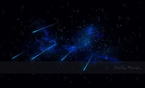 Shooting Stars  Children's Or Nursery Room Star glow in the dark poster by StellaMurals