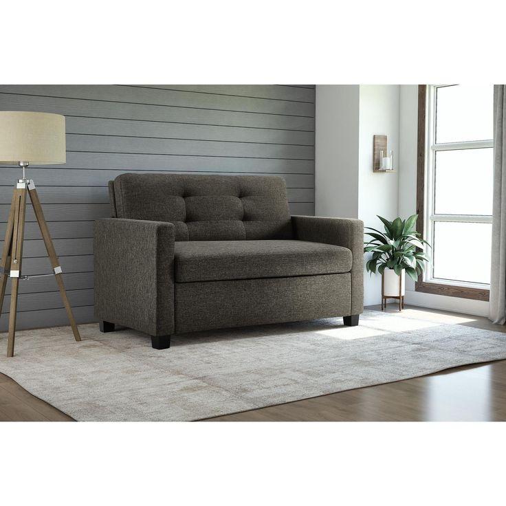 DHP Signature Sleep Devon Grey Linen Twin Sleeper Sofa (Twin sofa sleeper, grey)
