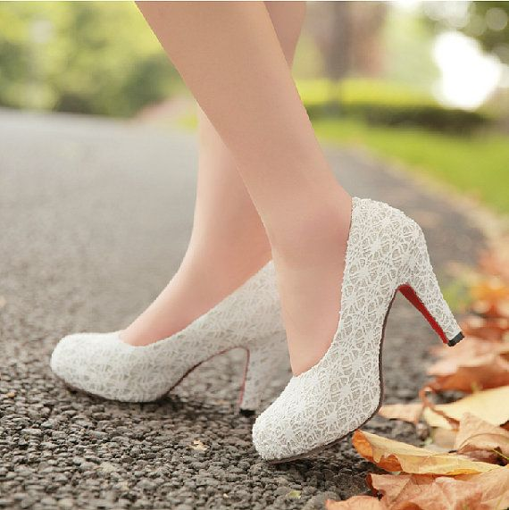 2014 Spring high heel shoes white lace by BeautifulLifeDress, $55.99
