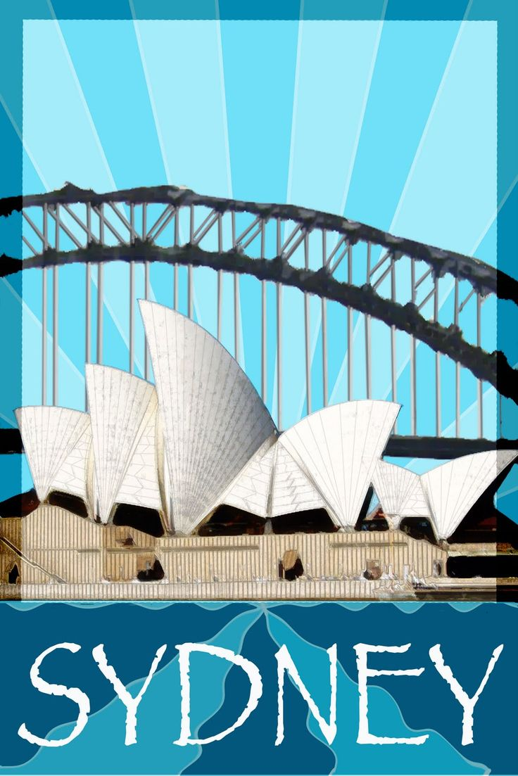 Sydney Opera House and Sydney Harbour Bridge, Sydney, NSW, Australia - art deco poster