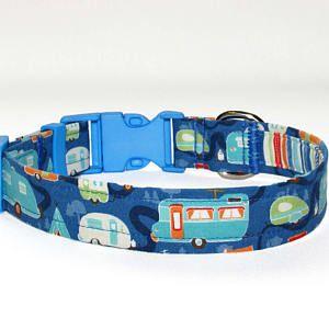 "Camping Dog Collar • Blue Dog Collar • Dog Collar • Cotton Dog Collar • Retro Travel Trailers • 1"" Fabric Dog Collar • Boy • Girl • 9"" - 30"""