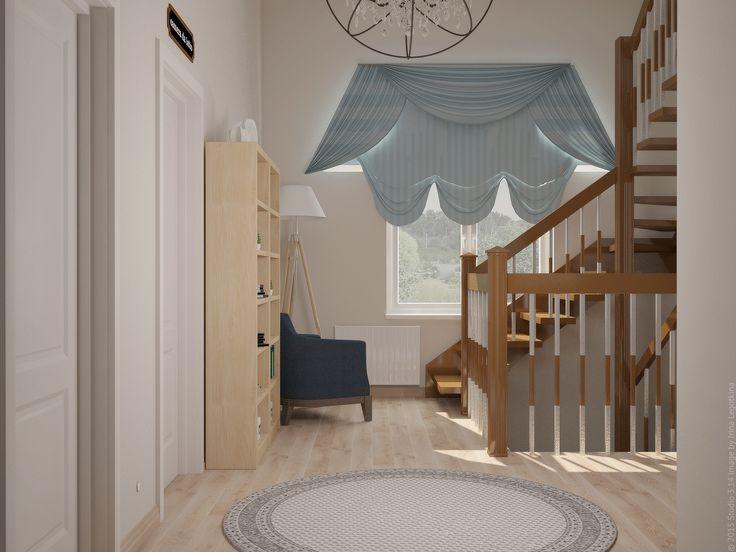Французские шторы оригинальной формы в оформлении холла двухэтажного дома.
